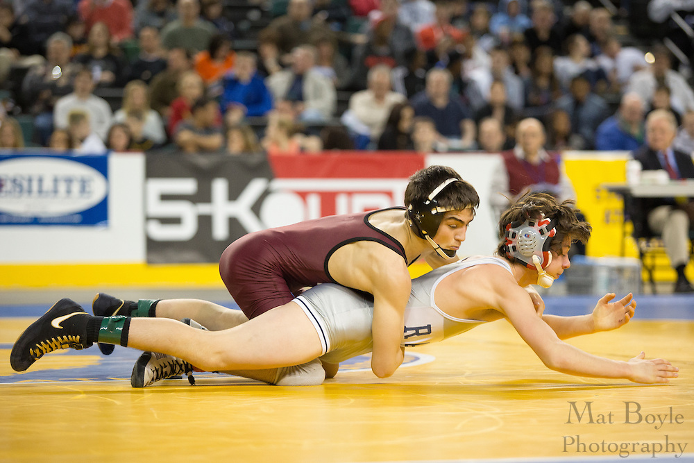 A.J. Vindici of Randolph defeats .Jean DuBois of Clifton (red) in the 113lb 3rd place match in the NJ State Wrestling Tournament at Boardwalk Hall in Atlantic CIty, NJ on Sunday March 10, 2013. (photo / Mat Boyle)