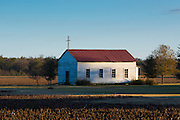 Quaint chapel in a field in bible belt Mississippi, USA