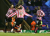 Photo: Mark Stephenson.<br /> Birmingham City v Sunderland. Coca Cola Championship. 20/02/2007.Sunderland's Carlos Edwards (C) celebrates his goal with his team mates