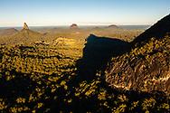 Aerial view of Mt Beerwah & Mt Coonowrin, Glass House Mountains, Sunshine Coast Hinterland, Queensland, Australia
