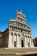 10th century Romanesque San Michele in Foro is a Roman Catholic basilica church in the old Roman Forum of Lucca, Tunscany, Italy . .<br /> <br /> Visit our ITALY PHOTO COLLECTION for more   photos of Italy to download or buy as prints https://funkystock.photoshelter.com/gallery-collection/2b-Pictures-Images-of-Italy-Photos-of-Italian-Historic-Landmark-Sites/C0000qxA2zGFjd_k<br /> <br /> If you prefer to buy from our ALAMY PHOTO LIBRARY  Collection visit : https://www.alamy.com/portfolio/paul-williams-funkystock/lucca.html .<br /> <br /> Visit our MEDIEVAL PHOTO COLLECTIONS for more   photos  to download or buy as prints https://funkystock.photoshelter.com/gallery-collection/Medieval-Middle-Ages-Historic-Places-Arcaeological-Sites-Pictures-Images-of/C0000B5ZA54_WD0s