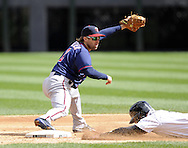 CHICAGO - APRIL 20:  Brian Dozier #2 of the MInnesota Twins records a force out at second base against the Chicago White Sox on April 20, 2013 at U.S. Cellular Field in Chicago, Illinois.  The Twins defeated the White Sox 2-1 .  (Photo by Ron Vesely)   Subject:  Brian Dozier