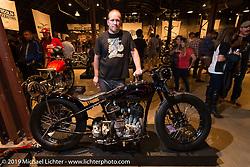 Harley-Davidson motorcycle designer Casey Ketterhagen with his 1931 custom Harley-Davidson VL on Saturday at the Handbuilt Motorcycle Show. Austin, TX. April 11, 2015.  Photography ©2015 Michael Lichter.