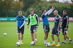 NEWPORT, WALES - Wednesday, October 8, 2014: Wales' Simon Church, Gareth Bale and David Cotterill training at Dragon Park National Football Development Centre ahead of the UEFA Euro 2016 qualifying match against Bosnia and Herzegovina. (Pic by David Rawcliffe/Propaganda)