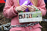 Protesters against the planned HS2 project takes place 12.01.18 in Euston, London, United Kingdom. Jo Hurford. HS2 will take over the land by Euston Monday Jan 15 and all the trees will have to go. Local resident Jo Hurford and vicar Anne Stevens locked themselves to a tree in protest.