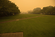 Oregon State Capitol State Park under smoke from 2020 Oregon wildfires.