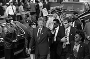 Bill Clinton as Governor of Arkansas and US Presidential Candidate during the Presidential Election Campaign October 1992. Scans made in 2017.<br /> Seen here: The Candidate Bill Clinton at an election rally in West Philadelphia surrounded by his Secret Service protection officers, all wearing small identifications badges on their lapels and with ear mikes.<br /> Photographs on the road on the 1992 Presidential Election campaign trail from Philadelphia and down the eastern states to Atlanta in Georgia. Clinton went on to become the 42nd President of the United States serving two terms from 1993 to 2001.