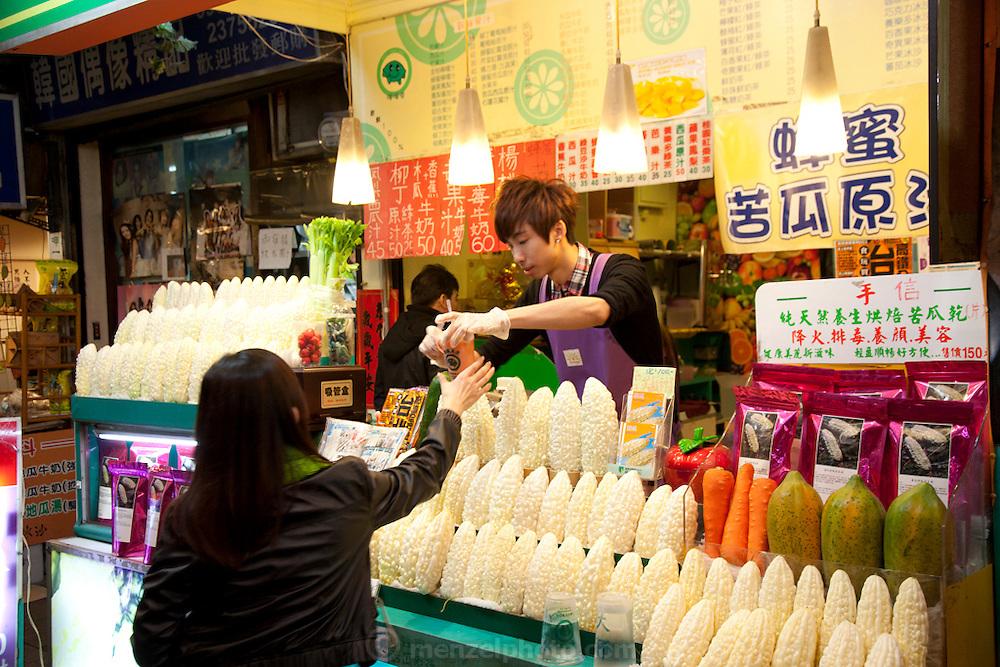 Taipei, Taiwan. Bitter gourd health drink stand.