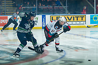 KELOWNA, BC - JANUARY 24: Conner Bruggen-Cate #20 of the Seattle Thunderbirds stick checks Pavel Novak #11 of the Kelowna Rockets during first period at Prospera Place on January 24, 2020 in Kelowna, Canada. (Photo by Marissa Baecker/Shoot the Breeze)