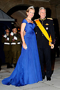 Gala dinner on the occasion of the civil wedding of Grand Duke Guillaume and Princess Stephanie at the Grand-Ducal palace in Luxembourg <br /> <br /> On the photo: Princess Mathilde and Prince Philippe