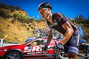 Professional cyclist at the Amgen Tour of California, Santa Monica Mountains, California USA