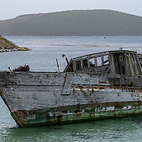The shipwreck of a sealing vessel, the Protector III, which beached in 1969, rests in the bay at New Island, Falkland Islands.