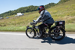 Richard Asprey riding his 1915 Norton during the Motorcycle Cannonball Race of the Century. Stage-3 from Morgantown, WV to Chillicothe, OH. USA. Monday September 12, 2016. Photography ©2016 Michael Lichter.