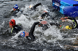 Swimmers turn a corner during the first relay change in the Mixed Relay during day ten of the 2018 European Championships at Loch Lomond, Stirling.