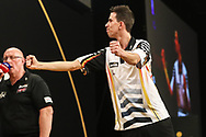 Michael Unterbuchner hits the winning double against James Wade to reach the quarter final  during the Grand Slam of Darts 2018 at Aldersley Leisure Village, Wolverhampton, United Kingdom on 15 November 2018.