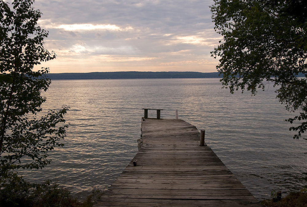 A dock at dawn on Grand Island National Recreation Area in Munising, Michigan.