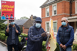 London, UK. 30th July, 2021. Royal Parks workers outsourced via French multinational VINCI Facilities address a picket outside the Old Police House in Hyde Park as part of joint strike action by the United Voices of the World (UVW) and Public and Commercial Services (PCS) trade unions. The joint strike, with members dual carding over pay, conditions and the sacking of a member of staff, is believed to be the first between a TUC and a non-TUC trade union and follows the launch of a legal challenge by the Royal Parks workers against indirect racial discrimination by the Royal Parks.