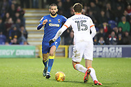 AFC Wimbledon defender George Francomb (7) battles for possession with Blackpool's Sean Longstaff (15) during the EFL Sky Bet League 1 match between AFC Wimbledon and Blackpool at the Cherry Red Records Stadium, Kingston, England on 20 January 2018. Photo by Matthew Redman.