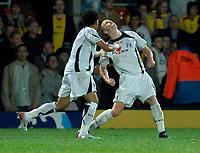 Photo: Richard Lane.<br />Watford v Fulham. The Barclays Premiership. 02/10/2006. <br />Fulham's Heider Helguson celebrates scoring his team's second goal.
