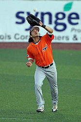 17 August 2013:  Michael Hur pulls in a fly ball for an out during a Frontier League Baseball game between the Rockford Aviators and the Normal CornBelters at Corn Crib Stadium on the campus of Heartland Community College in Normal Illinois
