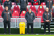 Middlesbrough first team coach Ronnie Jepson, Middlesbrough manager Neil Warnock and Middlesbrough assistant manager Kevin Blackwell during the Remembrance minute's silence before the EFL Sky Bet Championship match between Brentford and Middlesbrough at Brentford Community Stadium, Brentford, England on 7 November 2020.