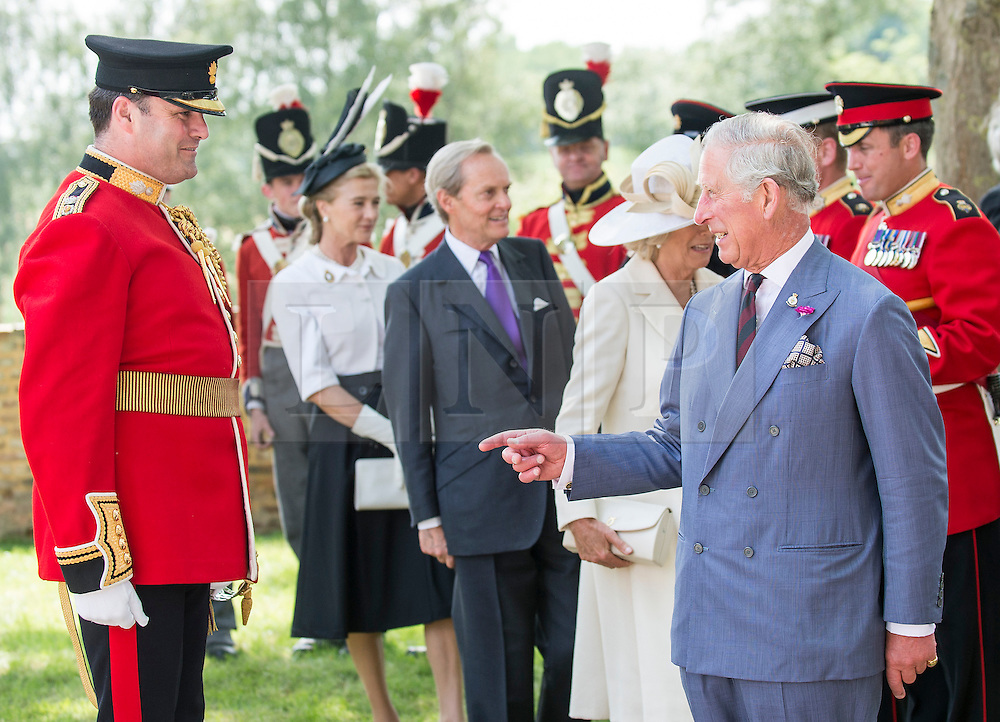 © London News Pictures. 17/06/2015. BELGIUM. <br /> His Royal Highnesses The Prince of Wales thanks Lieutenant Colonel Simon Soskin for his part in organising the event... 200 years since the eve of the Battle of Waterloo, Their Royal Highnesses The Prince of Wales and the Duchess of Cornwall attended a special ceremony at Hougoumont Farm, the Belgian Farm Wellington claimed was instrumental in his victory.  Photo credit: Sergeant Rupert Frere/LNP