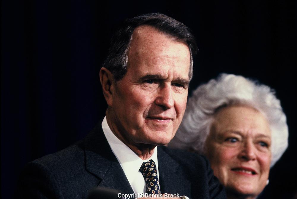 President Herbert Walker Bush and First Lady Barbara Bush in December 1990.<br /> Photo by Dennis Brack