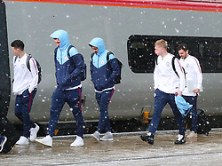 Phil Foden, Ilkay Gundogan, Kevin DeBruyne and Bernardo Silva and The Manchester City team are seen at Manchester Piccadilly Train Station on Thursday morning as they make their trip to London to face Arsenal in the premier league
