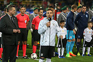 Lukas Podolski of Germany speaks to the fans on microphone during the International Friendly match between Germany and England at Signal Iduna Park, Dortmund, Germany on 22 March 2017. Photo by Phil Duncan.