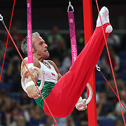 Iordan Iovtchev, Bulgaria, in action in the Gymnastics Artistic, Men's Apparatus, Rings Final at the London 2012 Olympic games. London, UK. 6th August 2012. Photo Tim Clayton