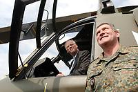 15 JUL 2002, VEITSHOECHHEIM/GERMANY:<br /> Rudolf Scharping, SPD, Bundesverteidigungsminister, sitzt im Cockpit des neuen Hubschraubers NH 90, waehrend eines Besuches der neu aufgestellten Division Luftbewegliche Operationen, DLO, rechts: Dieter Budde, Generalmajor, Kommandeur DLO, Veitshoechheim<br /> IMAGE: 20020715-01-011<br /> KEYWORDS: Veitshöchheim, Helicopter,