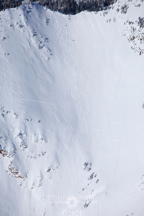Out-of-Bounds ski tracks in Little Cottonwood Canyon