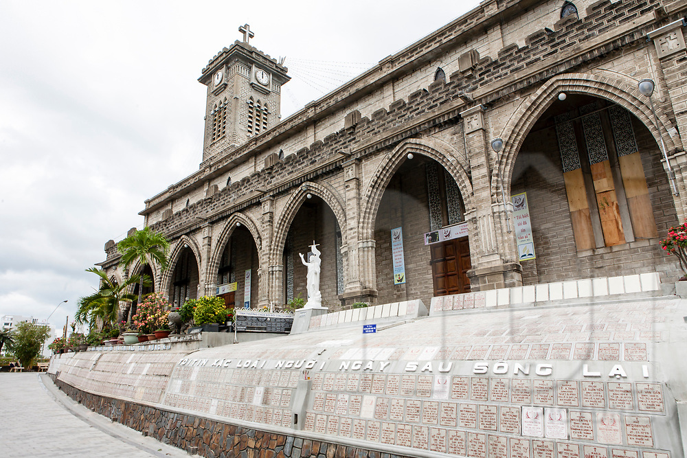 Outside architecture of Nha Trang's Cathedral, Vietnam, Southeast Asia