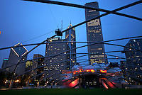 View of jay Pritzker Pavilion and Great Lawn in Millenium Park in Chicago. Multicultural events are hosted here.