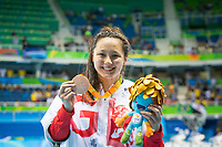 20160910 Copyright onEdition 2016©<br /> Free for editorial use image, please credit: onEdition<br /> <br /> Swimmer Alice Tai, 100m Backstroke S10 - Women,  from New Milton, wins a bronze medal competing for ParalympicsGB at the Rio Paralympic Games 2016.<br />  <br /> ParalympicsGB is the name for the Great Britain and Northern Ireland Paralympic Team that competes at the summer and winter Paralympic Games. The Team is selected and managed by the British Paralympic Association, in conjunction with the national governing bodies, and is made up of the best sportsmen and women who compete in the 22 summer and 4 winter sports on the Paralympic Programme.<br /> <br /> For additional Images please visit: http://www.w-w-i.com/paralympicsgb_2016/<br /> <br /> For more information please contact the press office via press@paralympics.org.uk or on +44 (0) 7717 587 055<br /> <br /> If you require a higher resolution image or you have any other onEdition photographic enquiries, please contact onEdition on 0845 900 2 900 or email info@onEdition.com<br /> This image is copyright onEdition 2016©.<br /> <br /> This image has been supplied by onEdition and must be credited onEdition. The author is asserting his full Moral rights in relation to the publication of this image. Rights for onward transmission of any image or file is not granted or implied. Changing or deleting Copyright information is illegal as specified in the Copyright, Design and Patents Act 1988. If you are in any way unsure of your right to publish this image please contact onEdition on 0845 900 2 900 or email info@onEdition.com