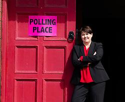 Edinburgh, Scotland, UK. 23 May 2019. Scottish Conservative leader Ruth Davidson MSP casts her vote in the European Elections at Wilson Memorial Church in Edinburgh, Scotland.