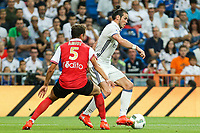 Stade de Reims's Amiot and Real Madrid's Gareth Bale during the XXXVII Bernabeu trophy between Real Madrid and Stade de Reims at the Santiago Bernabeu Stadium. August 15, 2016. (ALTERPHOTOS/Rodrigo Jimenez)