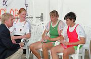 St Catherines, CANADA,  Women's Single Sculls, left Silver Medalist GER W1X. Katrin RUTSCHOW centre Gold medalist BLR W1X Ekaterina KARSTEN and right Bronze Medalist, BUL W1X Rumyana NEYKOVA awards Dock.  1999 World Rowing Championships - Martindale Pond, Ontario. 08.1999..[Mandatory Credit; Peter Spurrier/Intersport-images]  .. 1999 FISA. World Rowing Championships, St Catherines, CANADA