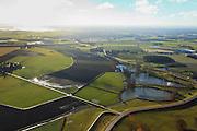 Nederland, Overijssel, Deventer, 20-01-2011. Stads- of Bolwerksweiden ten zuiden van Deventer gezien naar de IJsselbrug in de A1. Aan de horizon de IJssel bij hoogwater..The historical communal meadows near the (Hansa) city of Deventer. The river IJssel at the horizon..luchtfoto (toeslag), aerial photo (additional fee required).copyright foto/photo Siebe Swart