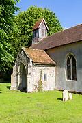 Porch and wooden tower historic rural parish church of Saint Mary, Battisford , Suffolk, England c 1902