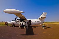 Flights landing with tourists on safari at an airstrip in  Masai Mara National Reserve, Kenya