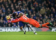 Chelsea's Diego Costa tussles with Stoke's Lee Grant during the Premier League match at Stamford Bridge Stadium, London. Picture date December 31st, 2016 Pic David Klein/Sportimage
