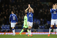 Leighton Baines of Everton claps to the crowd after the final whistle. Capital one cup semi final 1st leg match, Everton v Manchester city at Goodison Park in Liverpool on Wednesday 6th January 2016.<br /> pic by Chris Stading, Andrew Orchard sports photography.