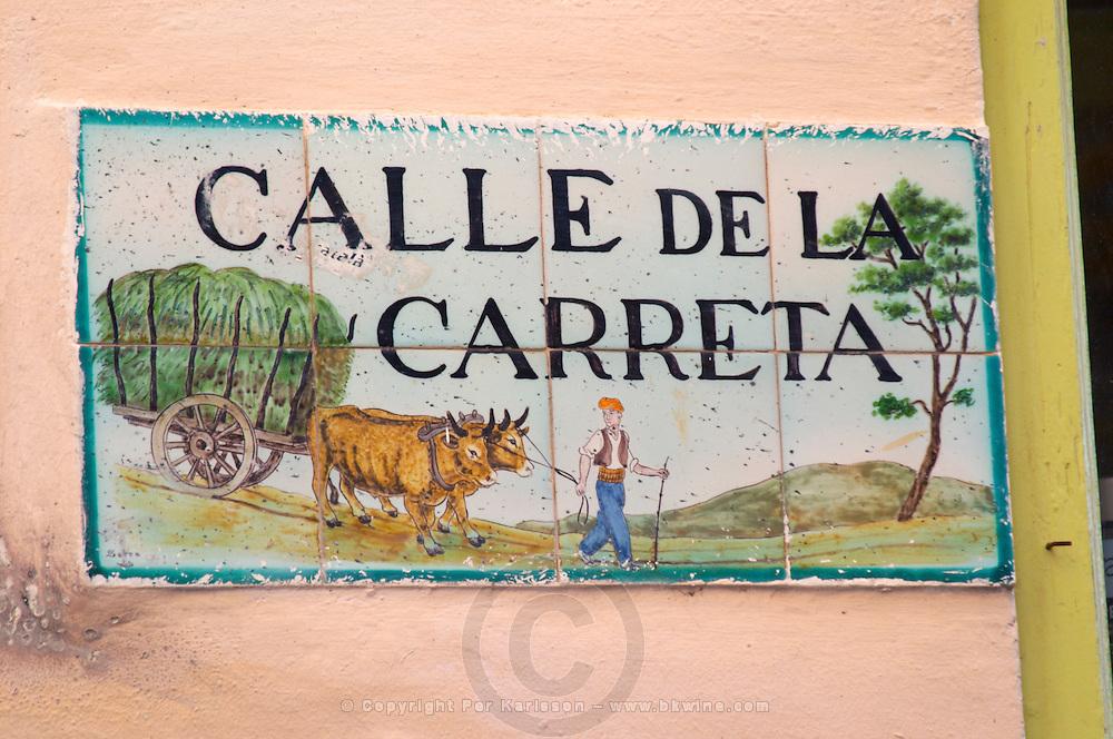 Enamel street sign: Calle de la Carreta. Sitges, Catalonia, Spain