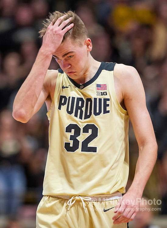 WEST LAFAYETTE, IN - DECEMBER 06: Matt Haarms #32 of the Purdue Boilermakers is seen during the game against the Maryland Terrapins at Mackey Arena on December 6, 2018 in West Lafayette, Indiana. (Photo by Michael Hickey/Getty Images) *** Local Caption *** Matt Haarms