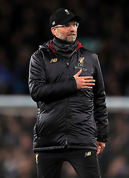 Liverpool manager Jurgen Klopp applauds the fans after the final whistle during the Premier League match at Goodison Park, Liverpool.