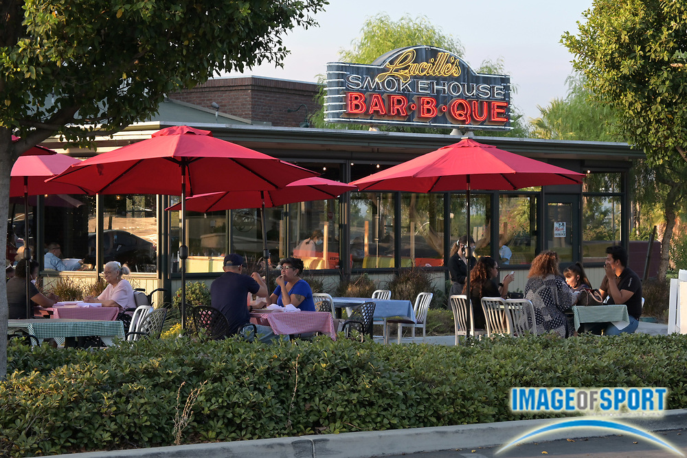 An outdoor dining area at Lucille's Smokehouse Bar-B-Que restaurant at The Shops at Montebello, Friday, Sept. 18, 2020, in Montebello, Calif.