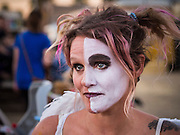 09 NOVEMBER 2013 - PHOENIX, AZ:   A woman in makeup at the 7th annual Phoenix Annual Parade of the Arts. The arts walk/parade started in 2006 and now draws hundreds of people in downtown Phoenix.    PHOTO BY JACK KURTZ