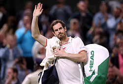 File photo dated 30-06-2021 of Andy Murray waves to the crowd after winning his Gentlemen's Singles second round match against Oscar Otte on centre court on day three of Wimbledon at The All England Lawn Tennis and Croquet Club, Wimbledon. Andy Murray does not intend to play in next month's Davis Cup following his defeat in Indian Wells and says he does not deserve to be selected anyway. Issue date: Wednesday October 13, 2021.