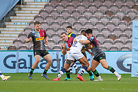 Rugby Union - 2020 / 2021 Gallagher Premiership - Round 4 - Harlequins vs Bristol Bears  - The Stoop<br /> <br /> Sami Radradra, of Bristol Bears, is held back by two Harlequins players as he attempts to break through <br /> <br /> COLORSPORT/DANIEL BEARHAM